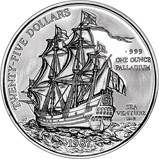 1987 1 oz Palladium Bermuda $25 Sea Venture 23380