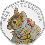 2018 UK Coin 50p Silver Proof Beatrix Potter - Mrs Tittlemouse 21308