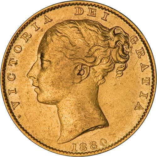 1880 Gold Sovereign Victoria Young Head Shield Sydney aVF VF Inverted A 23971