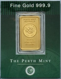 10g Gold Bar Swan Design Perth Mint New 23672