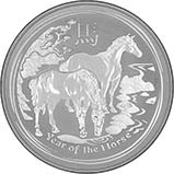 2014 1 Kg Silver Coin Lunar Year of the Horse Perth Mint Bullion 22568