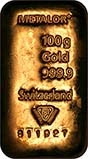 100g Gold Bar Our Choice Metalor New 23513