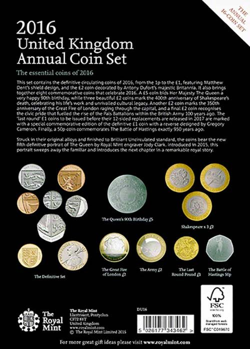 Uk Coin Sets 2016 Uk Annual Brilliant Uncirculated Set