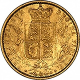 1860 Gold Sovereign Victoria Young Head Shield London 20709