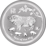 2019 1 Kg Silver Coin Lunar Year of the Pig Perth Mint Bullion Reverse
