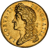 1687 Gold 5 Guinea Coin James II gVF 20759