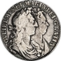 1689 William and Mary Silver Half Crown Obverse