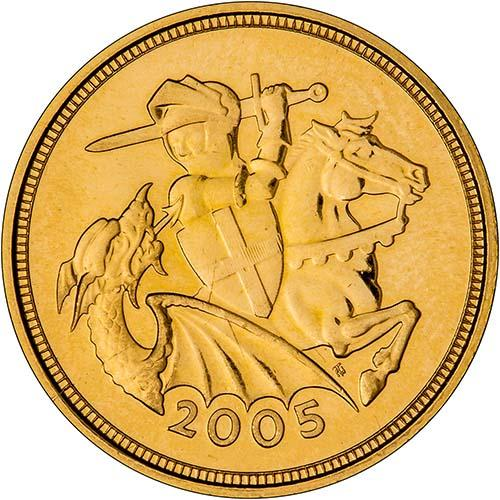 2005 Gold Half Sovereign Elizabeth II Bullion Reverse