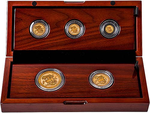 2017 Five Coin Sovereign Set Gold Proof L Chard