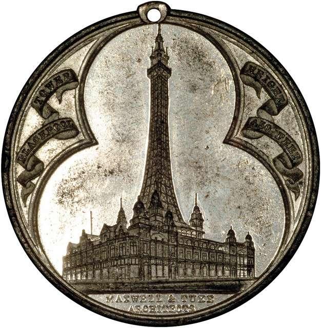 1894 Blackpool Tower Medallion White Metal - Obverse