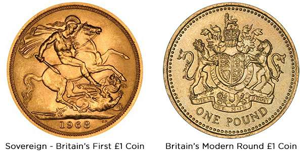 Britain's First Round Pound - the Sovereign, and Britain's Modern Round Pound